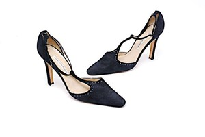 Manolo Blahnik Mary Jane Ankle Strap Navy Suede Pumps