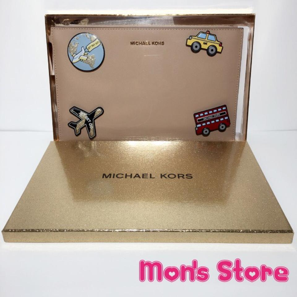 ae14e11b6ab9 Michael Kors Jet Set Travel Extra Large Embellished Set Oyster / Beige  Saffiano Leather Clutch - Tradesy