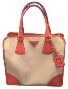 Prada Canvas Handbag Tote in Orange and beige
