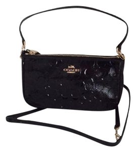 Coach F56518 Top Handle Pouch Patent Leather Debossed Cross Body Bag