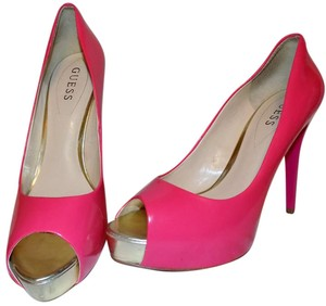 Guess Bright Bold Patent Classic Pink Platforms