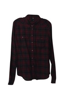 Paige Casual Button Down Shirt Black and Red Plaid