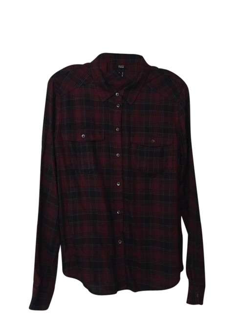 Item - Black and Red Plaid Mya Shirt - / Deep Syrah / Grey Mccoy Button-down Top Size 4 (S)