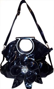Other Classic Bright Floral Faux Patent Embellished Shoulder Bag