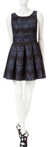 Romeo & Juliet Couture short dress Blue Damask Luxury Pleated Soft Classic on Tradesy