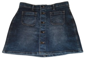 Gap Denim Jeans Mini Front Mini Skirt Blue