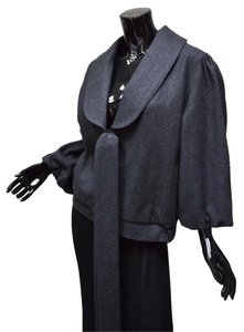 Twelve Couture Bomber Wool Cropped Bow Gray Jacket