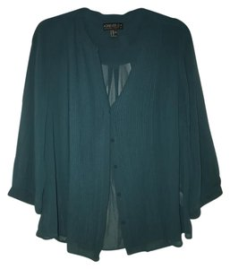 Forever 21 Work Casual Business Button Down Shirt Hunter Green