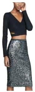 Express Pencil Pencil Skirt Grey Sequins