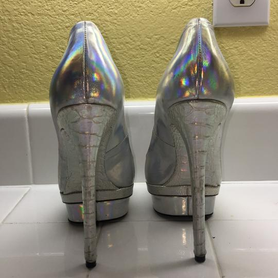 Brian Atwood Halographic Silver Multi-colored Platforms Image 1