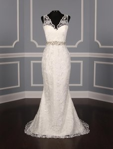Romona Keveza Pearl (Light Ivory) Venetian Lace Rk5448 Formal Wedding Dress Size 10 (M)