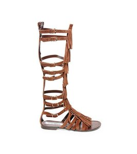 Steve Madden Back-zip Adjustable Buckle Suede Upper Fringe Accents Chestnut Sandals