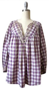 Rebecca Taylor Cotton Plaid Metallic Trim Lace Long Sleeve Top purple