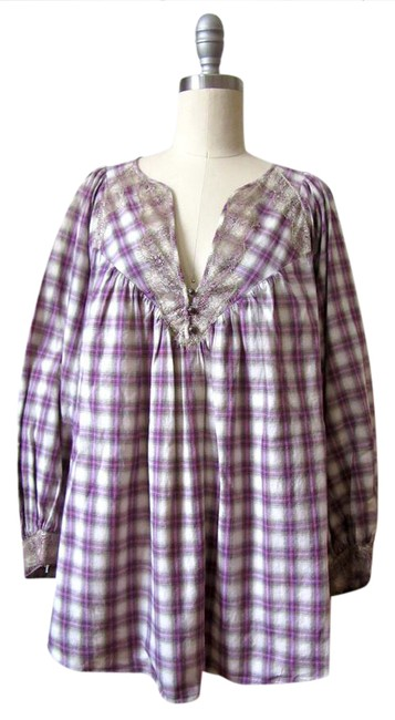 Preload https://img-static.tradesy.com/item/20854235/rebecca-taylor-purple-plaid-peasant-blouse-size-4-s-0-1-650-650.jpg