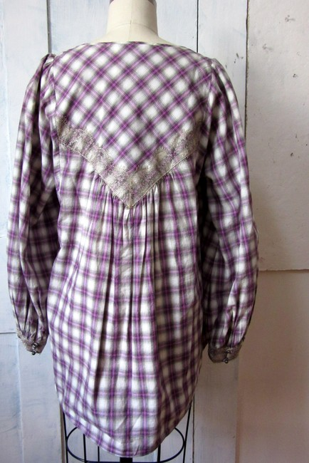 Rebecca Taylor Cotton Plaid Metallic Trim Lace Long Sleeve Top purple Image 6