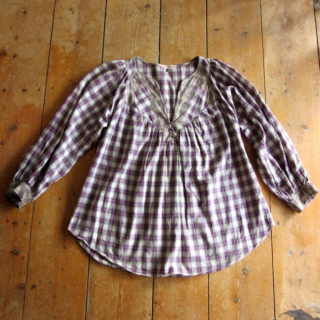 Rebecca Taylor Cotton Plaid Metallic Trim Lace Long Sleeve Top purple Image 9