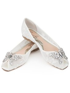 Aruna Seth Liana Crystal Butterfly Peep Toe Lace Flats Wedding Shoes