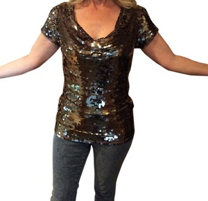 INC International Concepts Sequin Top Metallic black