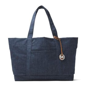 Michael Kors Leather Imported Tote in Denim blue