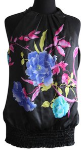 Studio Y Floral Flower Elastic Tie Top Black, Purple & Pink