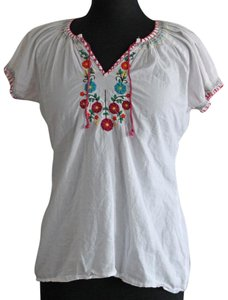 Maurices Flowers V-neck Cotton Top White