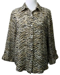 Alfred Dunner Button Down Shirt Black Brown Beige Animal Print