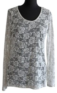 Maurices Sheer Lace Flower Top White & Gray
