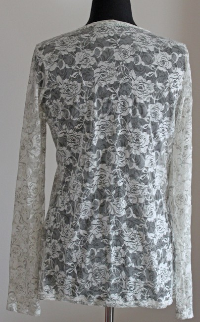 Maurices Sheer Lace Flower Top White & Gray Image 1