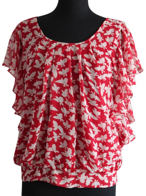 Item - Red & White L Bird Pattern Elastic Waist (In Back) Blouse Size 12 (L)