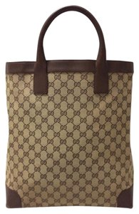 Gucci Gg Leather Gg Satchel Bamboo Gg Large Tote