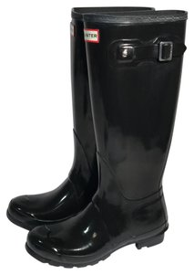 Hunter Womens Original Tall Gloss Rainboots black Boots