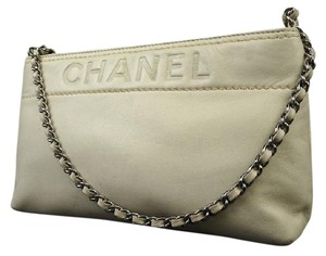 Chanel Pochette Clutch Pouch Wristlet Evening Satchel in Beige