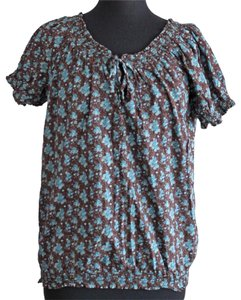 Maurices Flower Floral Top Blue & Brown
