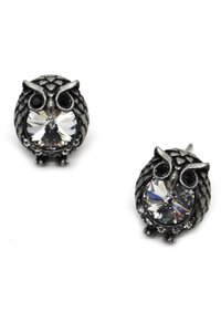 Ocean Fashion Mini Vintage Silver cute owl crystal earrings