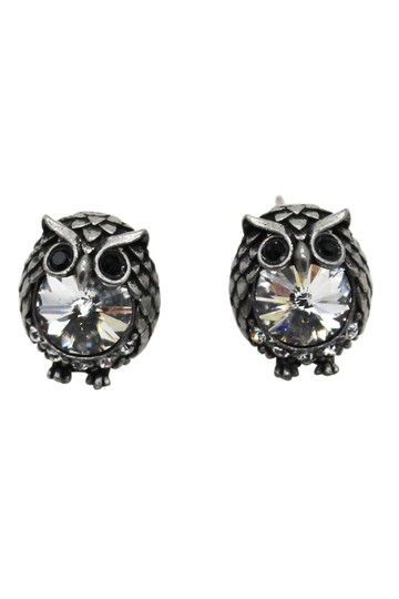Ocean Fashion Mini Vintage Silver cute owl crystal earrings Image 1