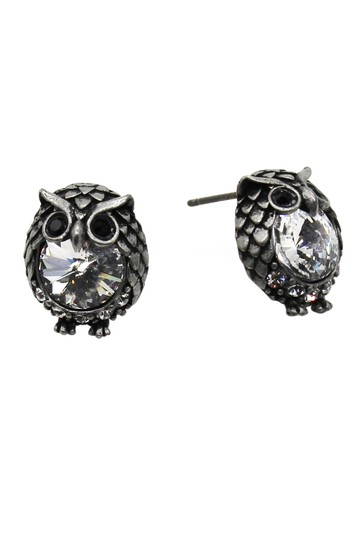 Ocean Fashion Mini Vintage Silver cute owl crystal earrings Image 2