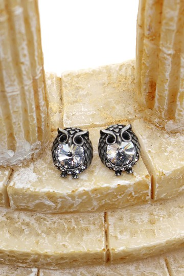 Ocean Fashion Mini Vintage Silver cute owl crystal earrings Image 5