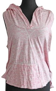 Free People Hooded T Shirt Pink & White