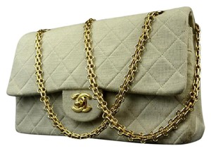 Chanel Cotton Flap Jersey Flap Canvas Flap Beige Blue Shoulder Bag