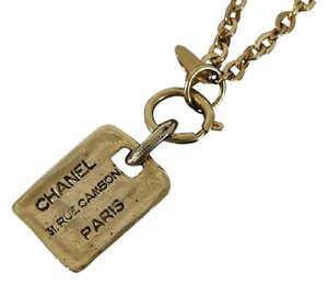 Chanel Gold CC Dog Tag Cambon Necklace 215529