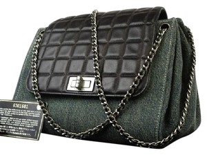 Chanel Quilted Chocolate Bar Denim Jean Classic Flap Shoulder Bag