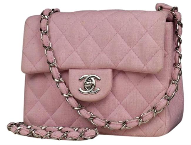 Item - Classic Flap Crossbody Quilted Canvas Mini Square 215367 Pink Cotton Shoulder Bag