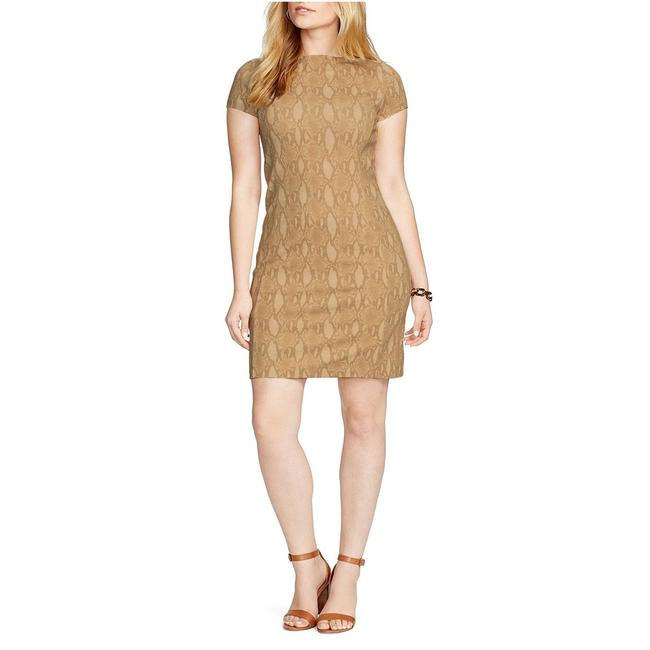 Preload https://img-static.tradesy.com/item/20855152/lauren-ralph-lauren-tan-stretch-ponte-knit-python-print-sheath-short-casual-dress-size-12-l-0-1-650-650.jpg
