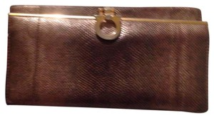 Salvatore Ferragamo Wristlet in tan gold & brown