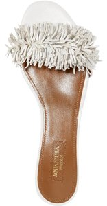 Aquazzura Fringe Slide white Sandals