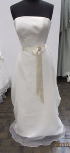 Mikaella Bridal Ivory Satin and Organza Gown-style 1338- Ivory/Natural #91l Modern Wedding Dress Size 12 (L)