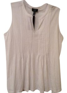 Jones New York Summer Sleeveless Sleeveless Cotton Top White