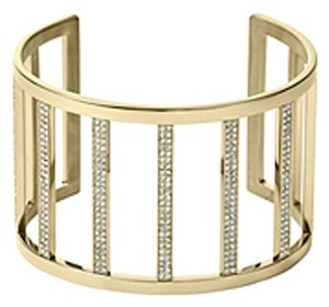 Michael Kors MKJ3761 Gold Tone SS Crystal Pave Bars Open Cuff Bracelet