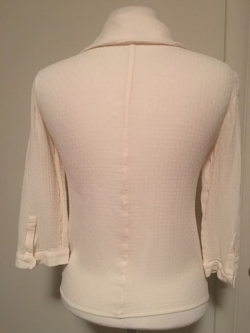 Barneys New York Round Collar 3/4 Sleeve Button Top Creme Image 2