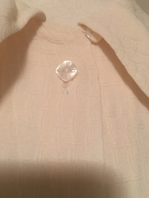 Barneys New York Round Collar 3/4 Sleeve Button Top Creme Image 4